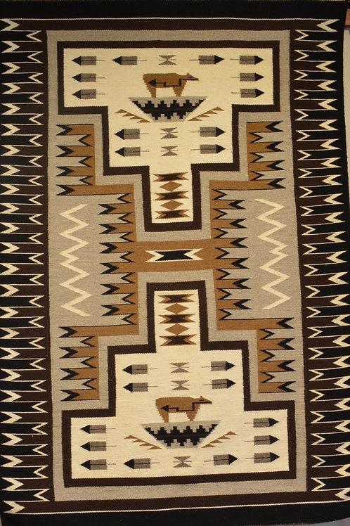 "Elizabeth Yazzie - Pictorial Storm Navajo Weaving -70"" X 47"""