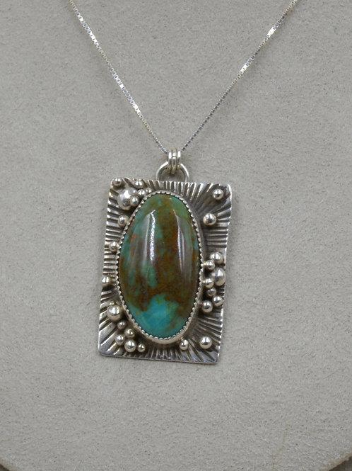 Rectangle Pendant w/ Kingman Turquoise Necklace by Jacqueline Gala