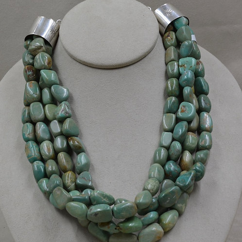 4 Strand S. Silver Smooth Nugget Nevada Green Turquoise by Kenneth Aguilar