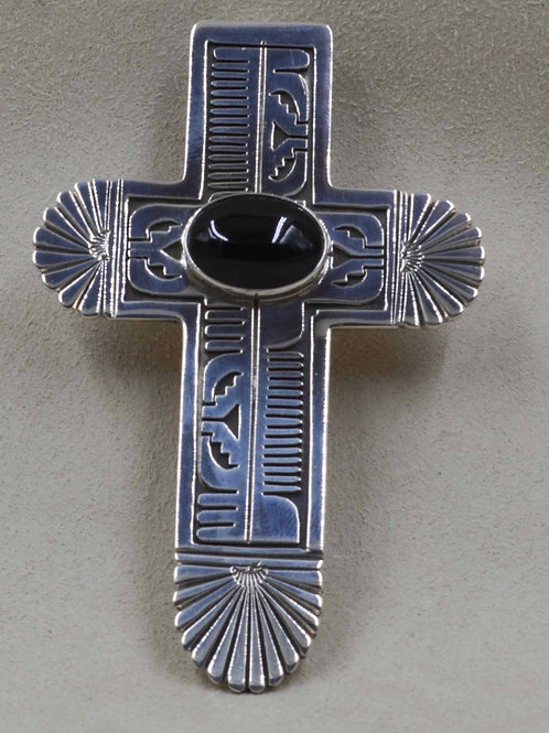 Large Sterling Silver and Onyx Cross by Leonard Nez