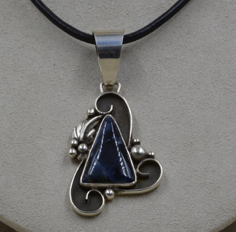 Sterling Silver and Petersite Triangle Pendant by Cheryl Arviso