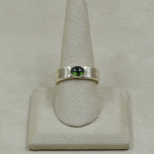 Green Tourmaline and Sterling Silver 9x Ring by Joe Glover
