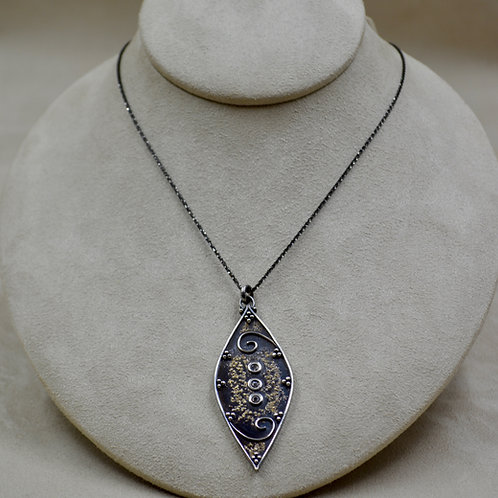 Argentinian Silver & 22k Gold Diamond Shape Necklace by Michele McMillan