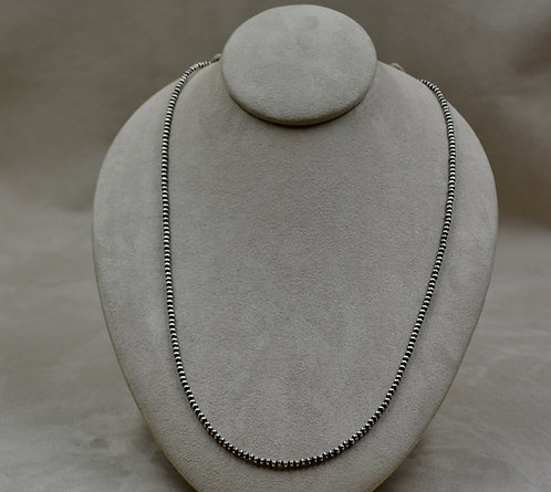 "Navajo Pearl Oxidized 3mm Sterling Silver Beads 28"" Necklace"