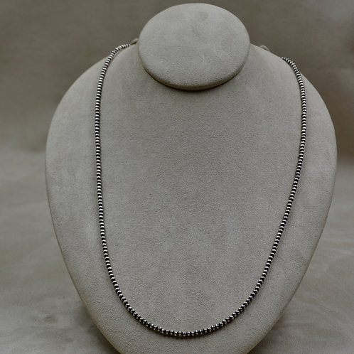 """Navajo Pearl Oxidized 3mm Sterling Silver Beads 28"""" Necklace"""