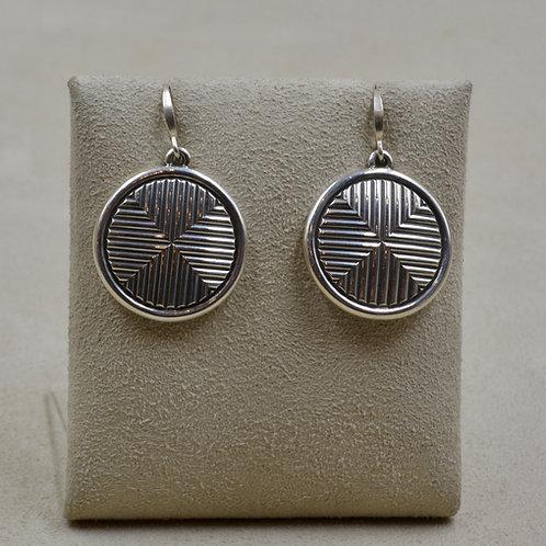 Cross Style Circle w/ Border Sterling Silver Earrings by Steve Taylor