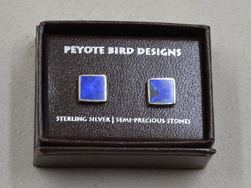Flat Square Lapis Post Earrings by Peyote Bird Designs