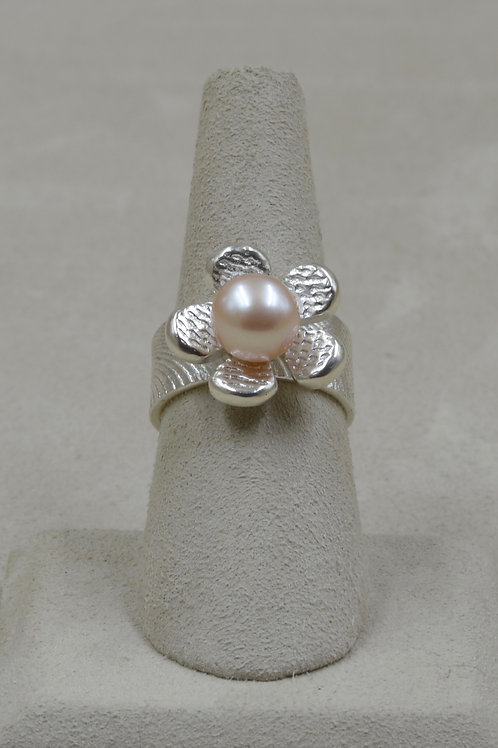 S. Silver Cuttle Cast Flower w/ Pink Freshwater Pearl 6.5x Ring by Althea Cajero