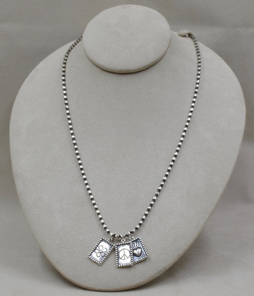 Sterling Silver 3 Tag Necklace on Beaded Chain