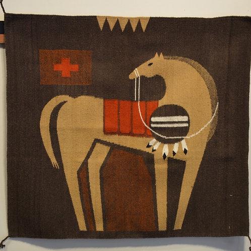 "Horse w/ Shield Memories Zapotec Rug - 36"" X 40"""