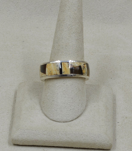 Ethnic Jasper, Tigereye, & Sterling Silver 10x Ring by GL Miller Studio