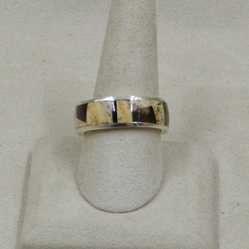Ethnic Jasper, Tigereye, & Sterling Silver 10x Ring by GL Miller Studio