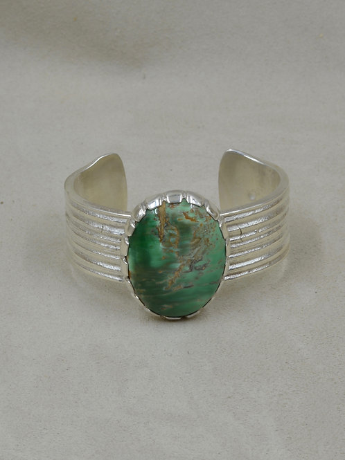 Natural Royston Turquoise Ridged SS Cuff by JP Arviso