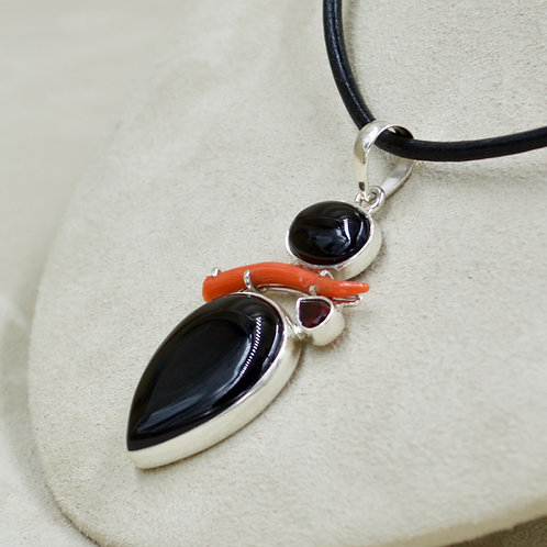 Medium Coral, Onyx, Garnet, Sterling Silver Pendant by Sanchi & Filia
