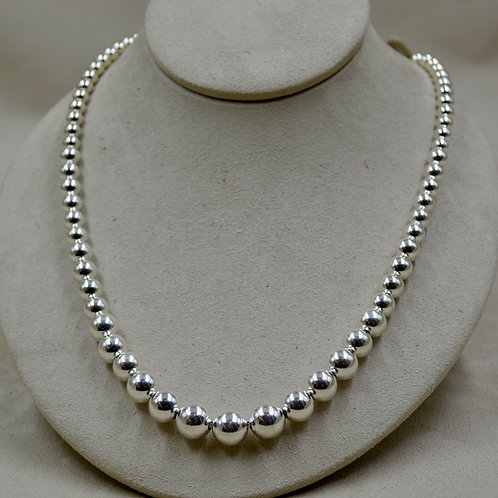 """Graduated Sterling Silver 20"""" Beaded Necklace by Sippecan Designs"""
