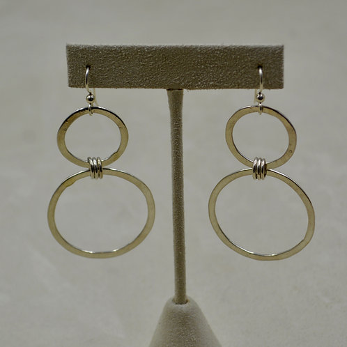 Hand-Forged Sterling Silver Double Hoop Earrings by Jacqueline Gala