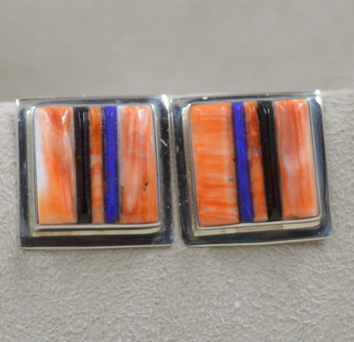 Cobble Orange Spiny Oyster, Jet, Lapis Large Square Earrings by Veronica Benally