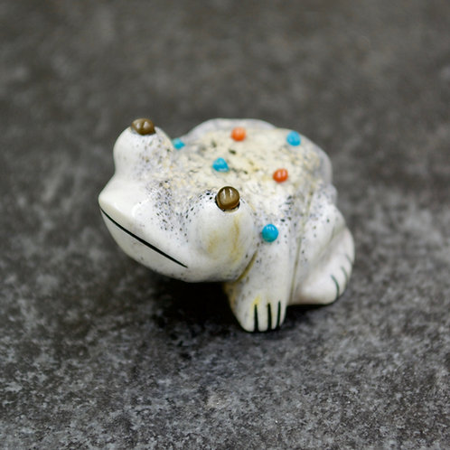"""Pearl, Turquoise, Coral, Jet Frog Fetish 7/8"""" x 1 1/2"""" by Claudia Peina"""