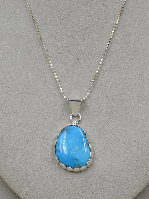 Natural Blue Kingman Turquoise & S. Silver Pendant by JP Arviso