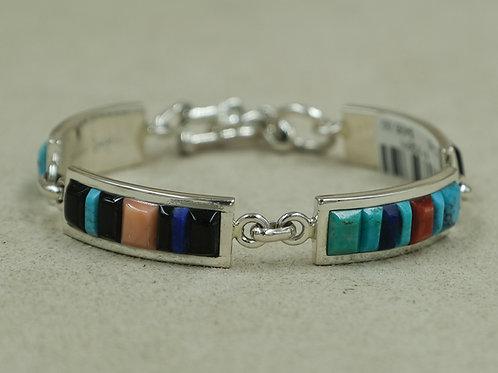 Rectangle Links w/ TQ, Coral, Jet, Lapis, & Spiny Bracelet by Veronica Benally