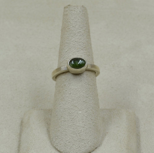Green Cateye Tourmaline and Sterling Silver 6x Ring by Joe Glover