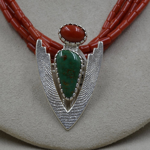 Sterling Silver Yerrington, Nevada Turquoise & Coral Pendant by Althea Cajero