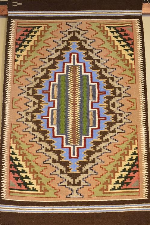 "Karrie Whitney - Burntwater Navajo Weaving 49"" X 30"""