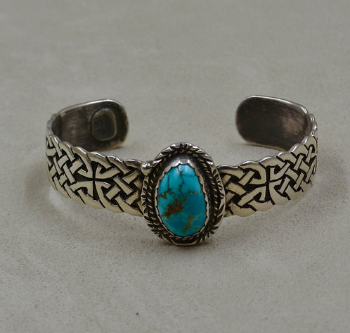 Carico Lake Turquoise w/ SS Celtic Knot Pattern Cuff by James Saunders