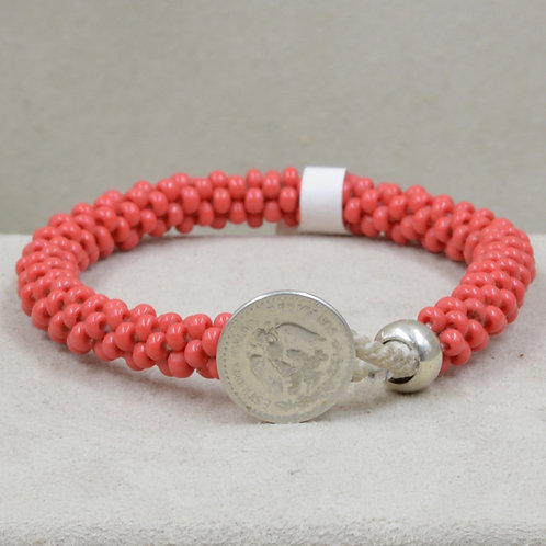 Glass Beaded, Sterling Silver Red Coin Friendship Bracelet by Maggie Moser