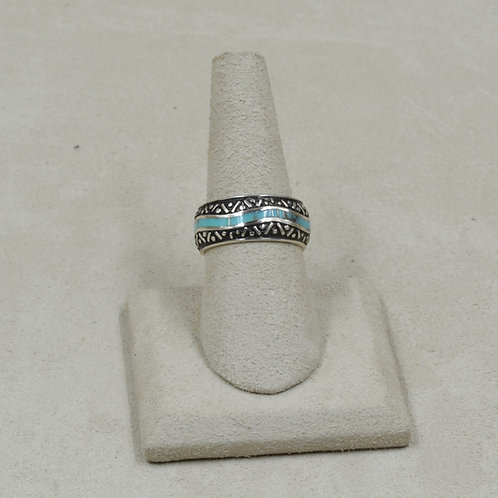 Campitos Turquoise and Sterling Silver 8x Ring by GL Miller
