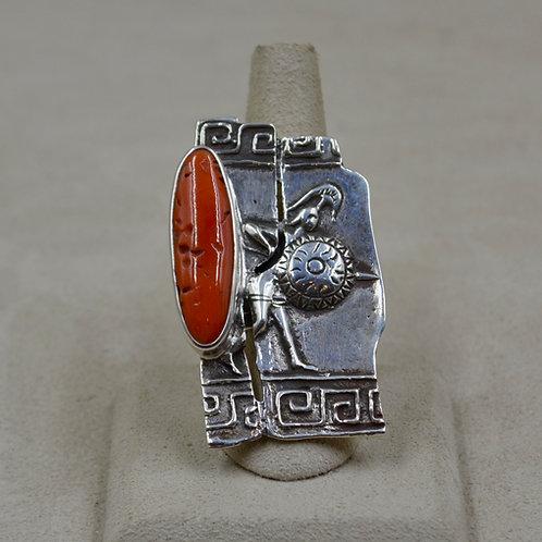 Sterling Silver Gladiator 8.5x Ring w/ Medium Coral by Melanie DeLuca