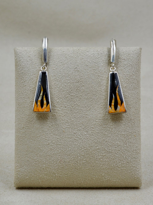 Flame S. Silver Earrings w/ Black Jade, Spiny Oyster by GL Miller