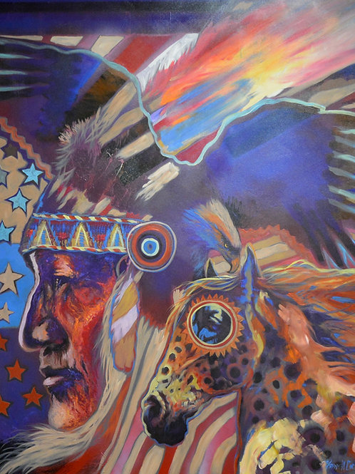 """""""High Chief Vision"""" Ac on Canvas - 60"""" x 48"""" - by Farrel Cockrum"""