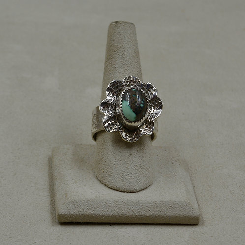 Candelaria Turquoise in Flower Setting Adj. Size, S. Silver Ring by James Saunde