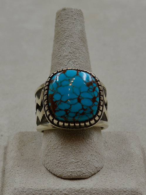 Hi-Grade Bisbee Turquoise Tufa Cast Square Stone 12.5x Ring by Aaron John