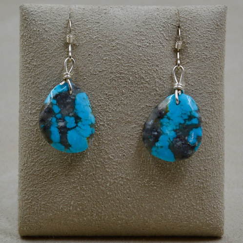 Small Kingman Turquoise Slab Wire Earrings by Kenneth Aguilar
