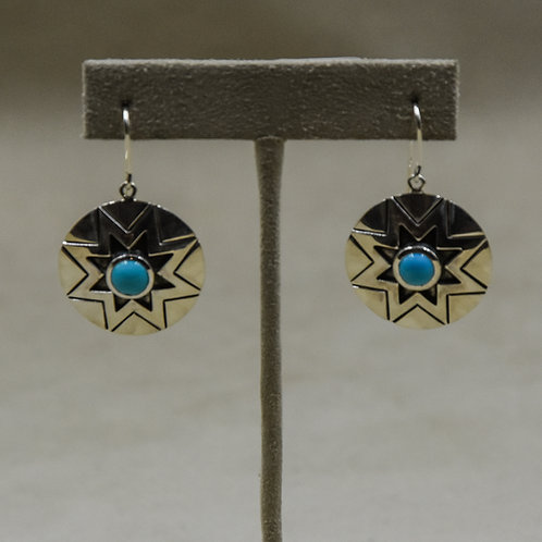 Sterling Silver & Sleeping Beauty Turquoise Wire Earrings by John Paul Rangel