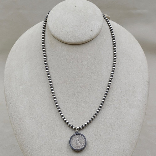 Oxidized Sterling Silver 4mm Beaded w/ Dime Pendant Necklace by Maggie Moser