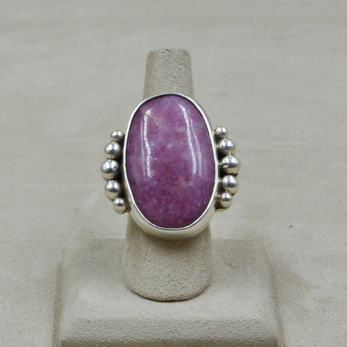 High Grade Lapidolite - Rare Crystaline & S. Silver 7.5x Ring by Jerry Faires