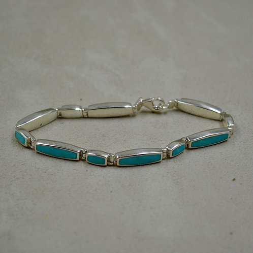 Blue/Green Stab Turquoise with Matchstick Link Bracelet by Peyote Bird Designs