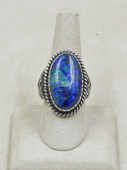 Sterling Silver & Azurite Adjust. from 9x Ring by Geneva Ramone