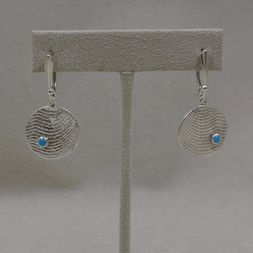 Medium Sterling Silver with S.B. Turquoise Disc Earrings by Althea Cajero