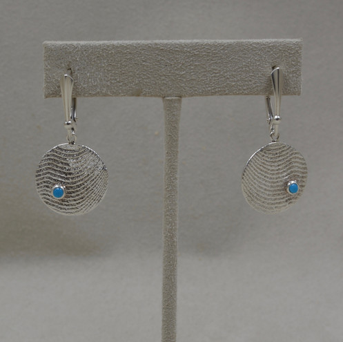 2e582b61f Medium Sterling Silver with Sleeping Beauty Turquoise Disc Earrings by  Althea Cajero