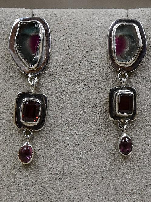 Tourmaline 3 Stone Drop/Posts Earrings by Richard Lindsay