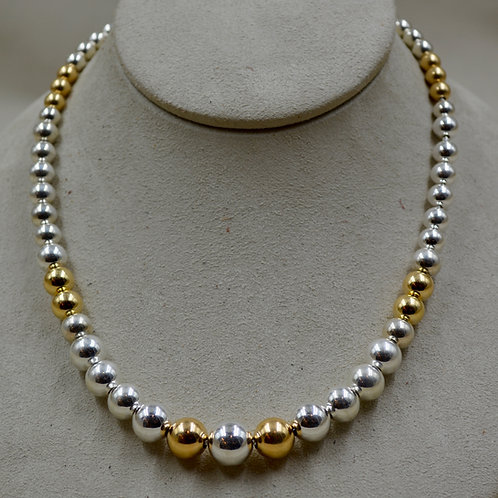 Graduated SS & 14k Gold Filled Beaded Necklace by Sippecan Designs