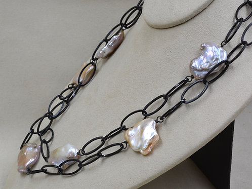 Large Baroque on Iron Chain Necklace by US Pearl Co.