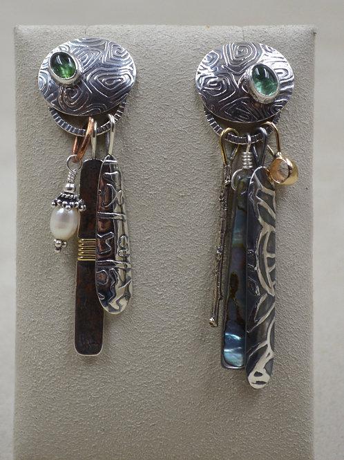 Desert Chimes #3 Post Earrings w/ Brass, Pearl, & Copper by Richard Lindsay