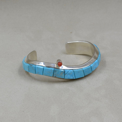 Natural Kingman Turquoise, Coral, & Sterling Silver Cuff by Dukepoo