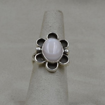 Sterling Silver w/ Pink Mussel Shell Flower 5.5X Ring by Cheryl Arviso