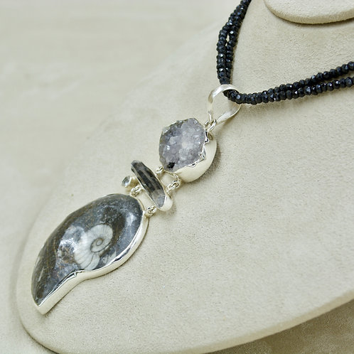Black Ammonite, Quartz Crystal, Quartz Druzy Pendant by Sanchi & Filia`